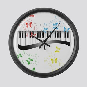 Butterfly piano music Large Wall Clock