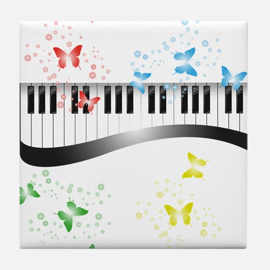 Butterfly piano music Tile Coaster