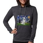Starry-White German Shepherd Womens Hooded Shirt