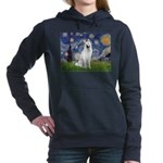 Starry-White German Shepherd Women's Hooded Sweats
