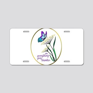 Butterfly on Flower Give Th Aluminum License Plate