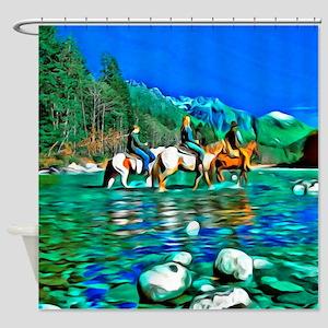 River Crossing (landscape) Shower Curtain