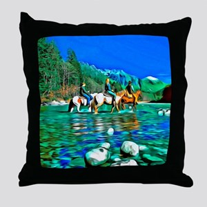 River Crossing (landscape) Throw Pillow
