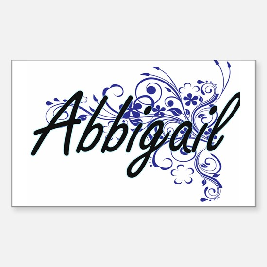 Abbigail Artistic Name Design with Flowers Decal