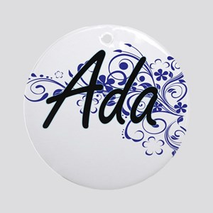 Ada Artistic Name Design with Flowe Round Ornament