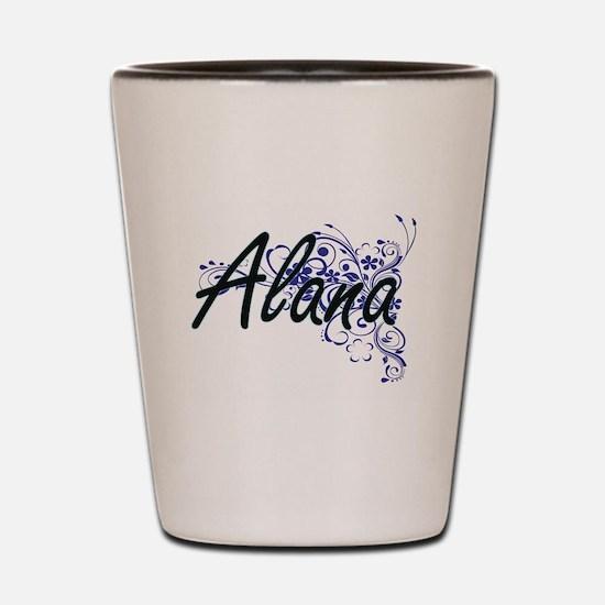 Alana Artistic Name Design with Flowers Shot Glass