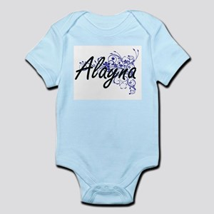 Alayna Artistic Name Design with Flowers Body Suit