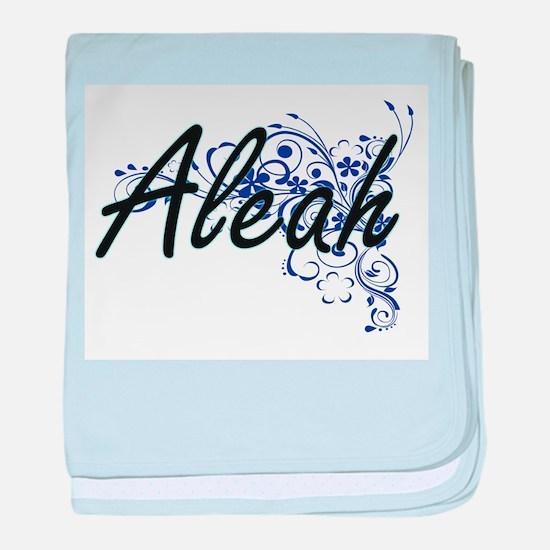 Aleah Artistic Name Design with Flowe baby blanket