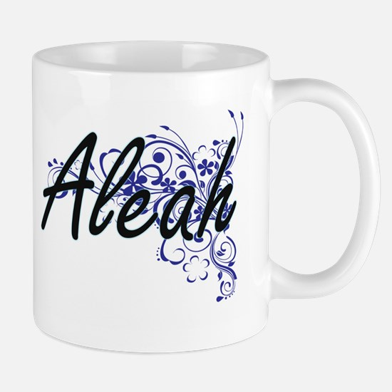 Aleah Artistic Name Design with Flowers Mugs