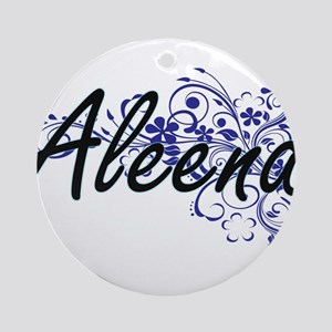 Aleena Artistic Name Design with Fl Round Ornament