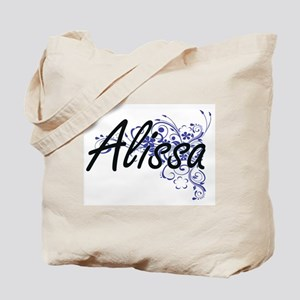 Alissa Artistic Name Design with Flowers Tote Bag