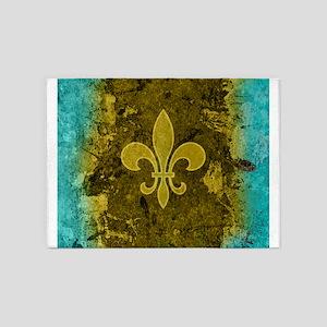 Fleur de lis Gold and Turquoise 5'x7'Area Rug