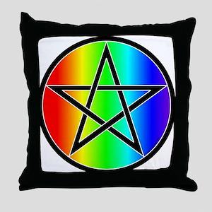 Rainbow Pentacle Throw Pillow - Black