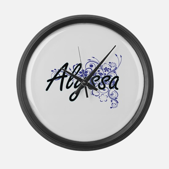 Alyssa Artistic Name Design with Large Wall Clock