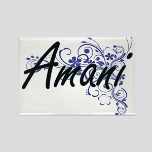 Amani Artistic Name Design with Flowers Magnets
