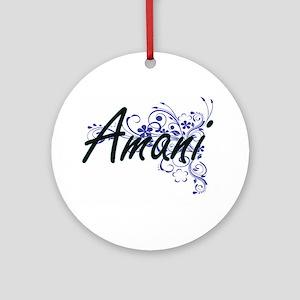Amani Artistic Name Design with Flo Round Ornament