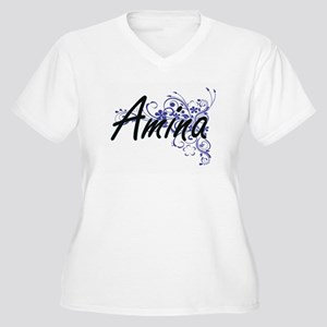 Amina Artistic Name Design with Plus Size T-Shirt