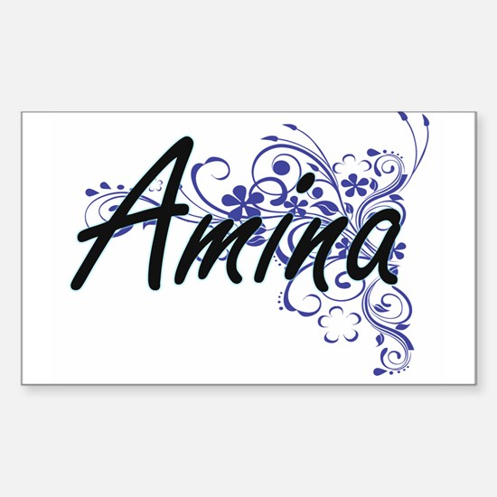 Amina Artistic Name Design with Flowers Decal