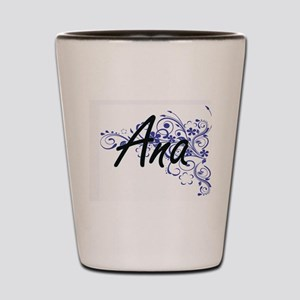Ana Artistic Name Design with Flowers Shot Glass
