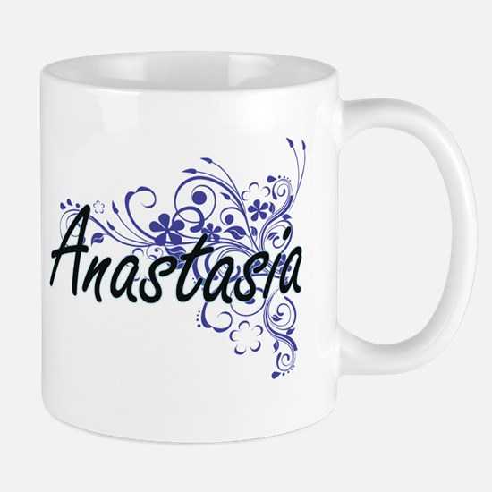 Anastasia Artistic Name Design with Flowers Mugs