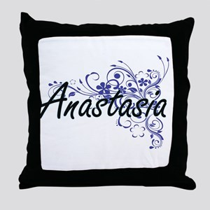 Anastasia Artistic Name Design with F Throw Pillow