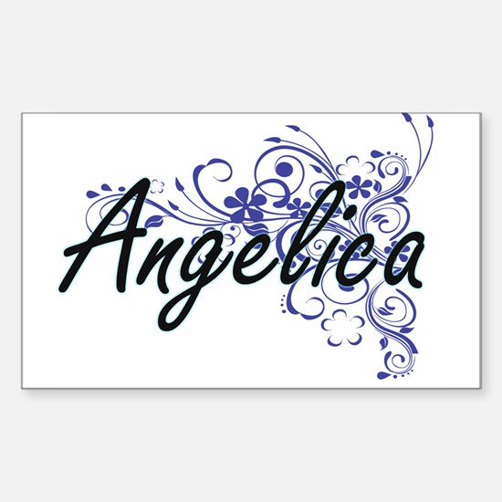 Angelica Artistic Name Design with Flowers Decal