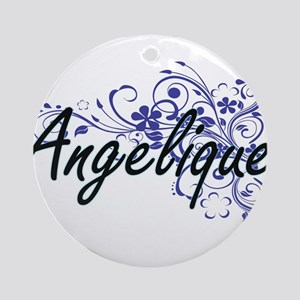 Angelique Artistic Name Design with Round Ornament