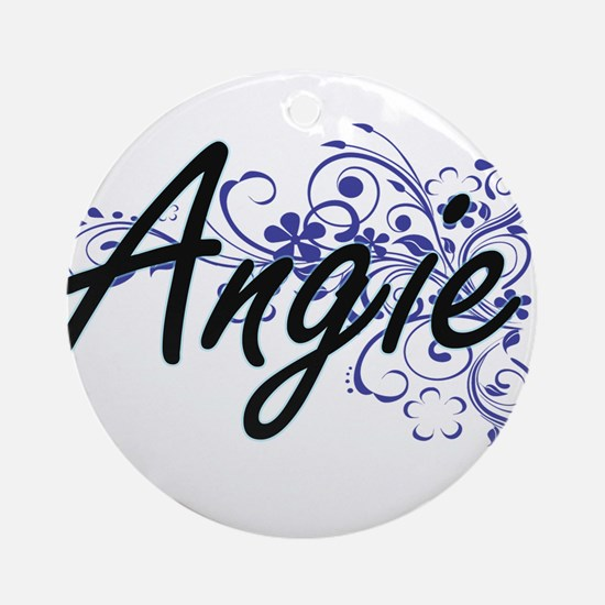 Angie Artistic Name Design with Flo Round Ornament