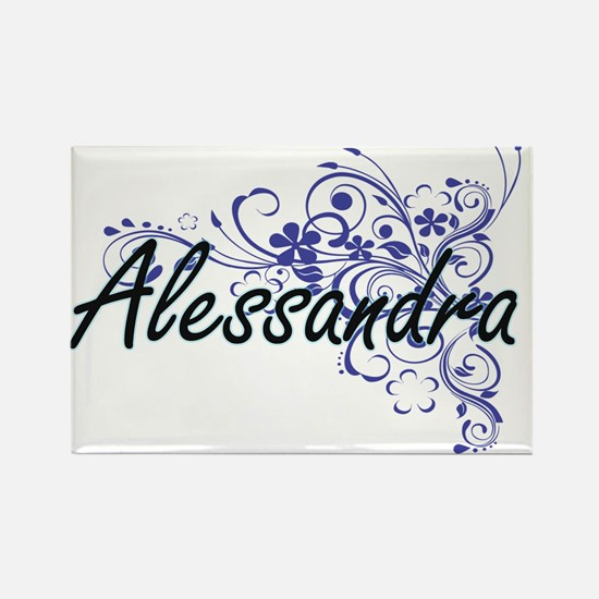 Alessandra Artistic Name Design with Flowe Magnets