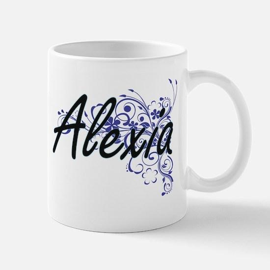 Alexia Artistic Name Design with Flowers Mugs