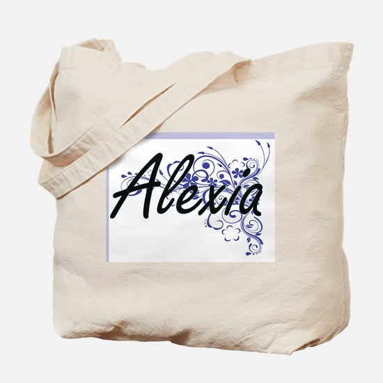 Alexia Artistic Name Design with Flowers Tote Bag