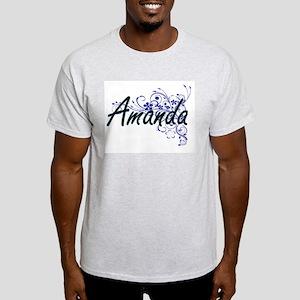 Amanda Artistic Name Design with Flowers T-Shirt