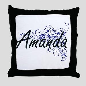 Amanda Artistic Name Design with Flow Throw Pillow