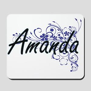Amanda Artistic Name Design with Flowers Mousepad