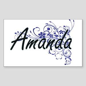 Amanda Artistic Name Design with Flowers Sticker