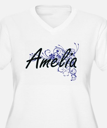 Amelia Artistic Name Design with Plus Size T-Shirt