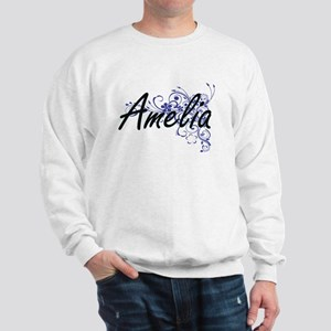 Amelia Artistic Name Design with Flower Sweatshirt