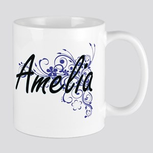 Amelia Artistic Name Design with Flowers Mugs