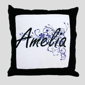 Amelia Artistic Name Design with Flow Throw Pillow