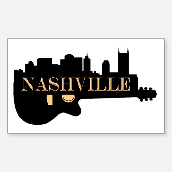 Nashville Guitar Skyline Decal