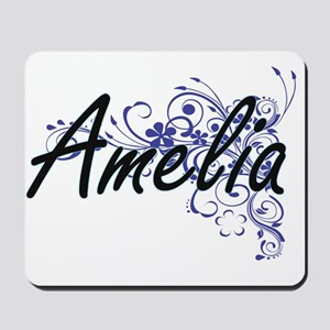 Amelia Artistic Name Design with Flowers Mousepad