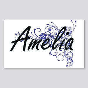 Amelia Artistic Name Design with Flowers Sticker