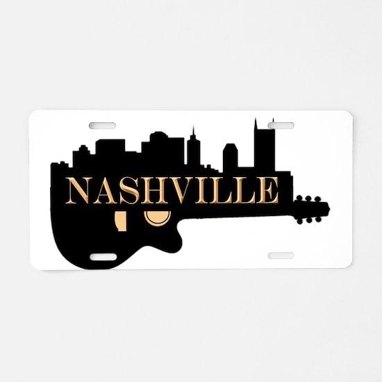 Nashville Guitar Skyline Aluminum License Plate