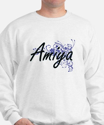 Amiya Artistic Name Design with Flowers Sweatshirt