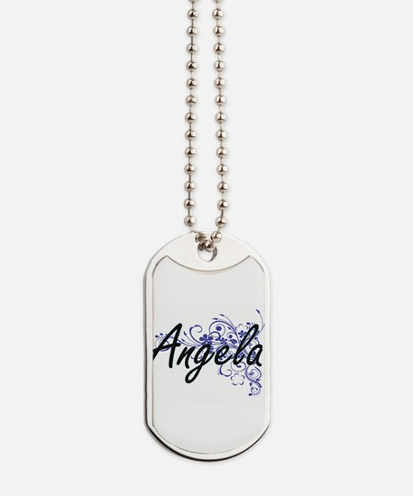 Angela Artistic Name Design with Flowers Dog Tags