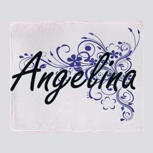Angelina Artistic Name Design with F Throw Blanket