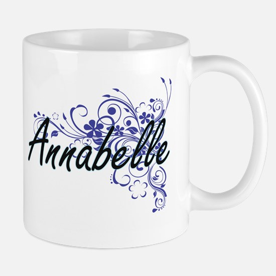 Annabelle Artistic Name Design with Flowers Mugs
