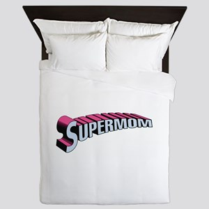 SupermomwithTransparentPinkBlue Queen Duvet
