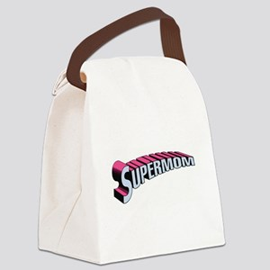 SupermomwithTransparentPinkBlue.j Canvas Lunch Bag