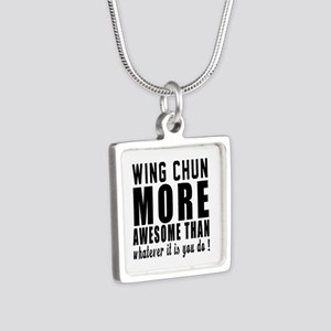 Wing Chun More Awesome Mar Silver Square Necklace